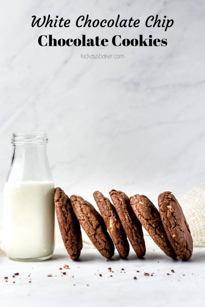 White Chocolate chip chocolate cookies | kickassbaker.com #whitechocolatechip #chocolatechipcookies #kickassbaker #nutfree #easyrecipes #cookies #chocolate