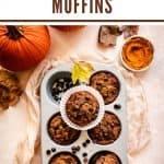 Paleo Pumpkin Muffins | kickassbaker.com pin for pinterest with text 1