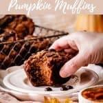 Paleo Pumpkin Muffins | kickassbaker.com pin for pinterest with text 4