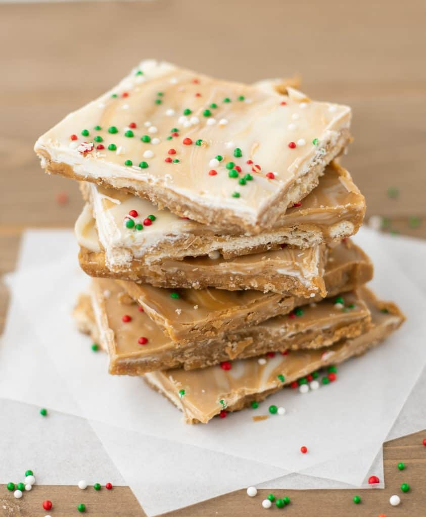 White Chocolate Biscoff Saltine Toffee | kickassbaker.com #biscoff #bark #holidaybaking #holidays #christmascookies #cookieexchange #whitechocolate #bakingrecipes #kickassbaker