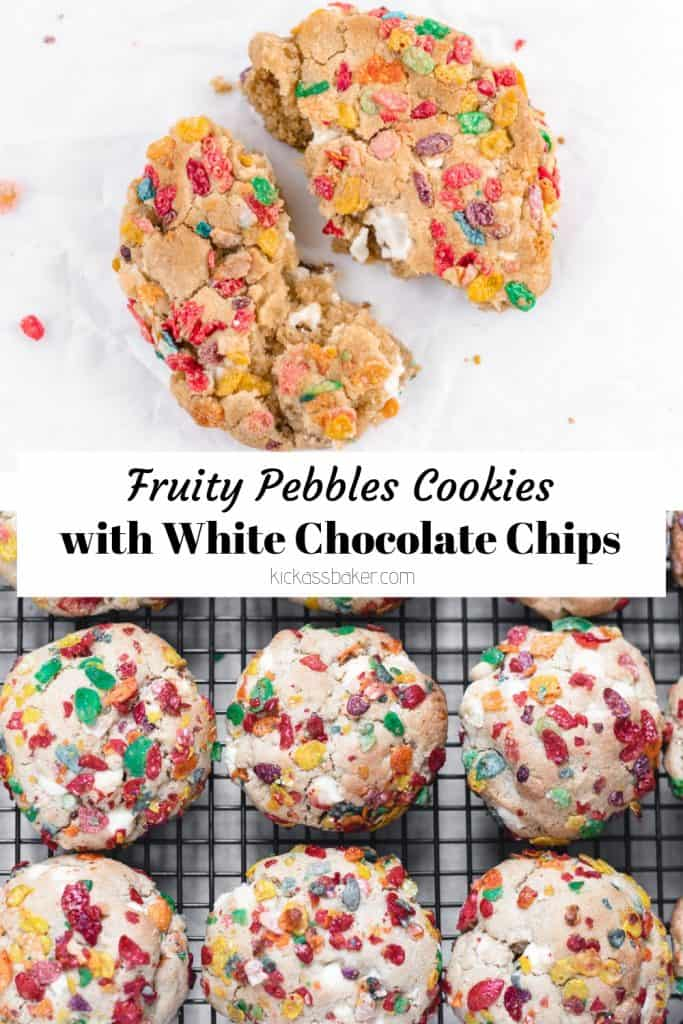 Fruity Pebbles cookies with white chocolate chips   kickassbaker.com #kickassbaker #cerealmilk #cookies #fruitypebbles #cereal #whitechocolatechips #breakfasttreats #cookierecipes #fruitypebblerecipes