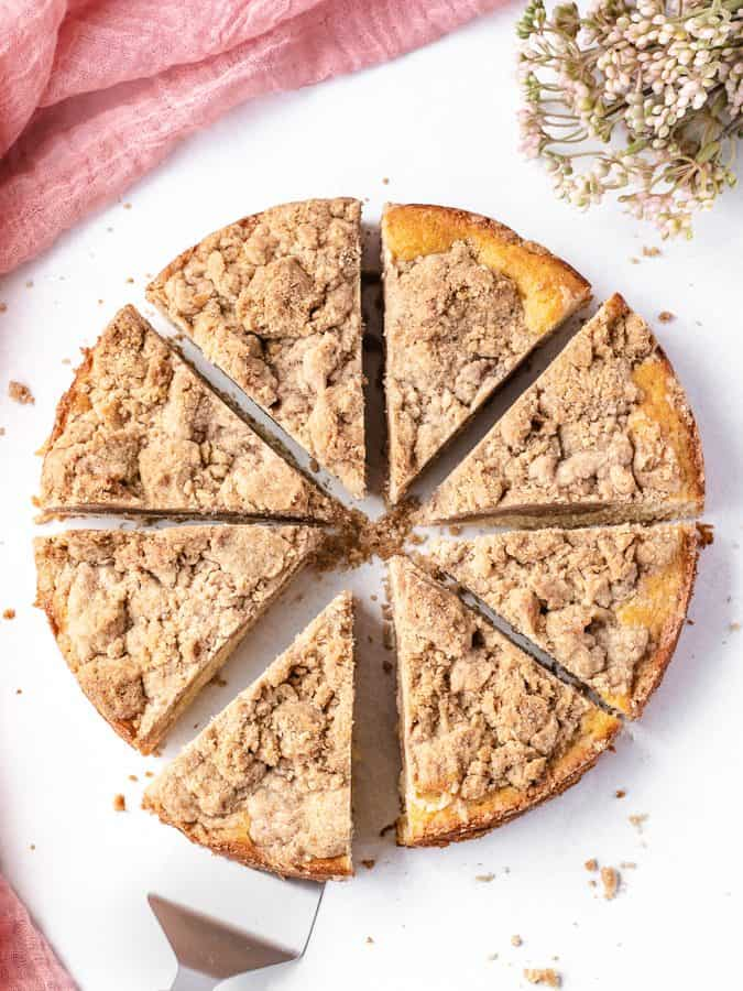 Double Crumb Crumb Cake | kickassbaker.com #crumbcake #easyrecipe #easyrecipes #coffeecake #breakfast #dessert #nutfree #peanutfree #nonuts #cinnamon #newyork #brunch#topping #bestrecipe