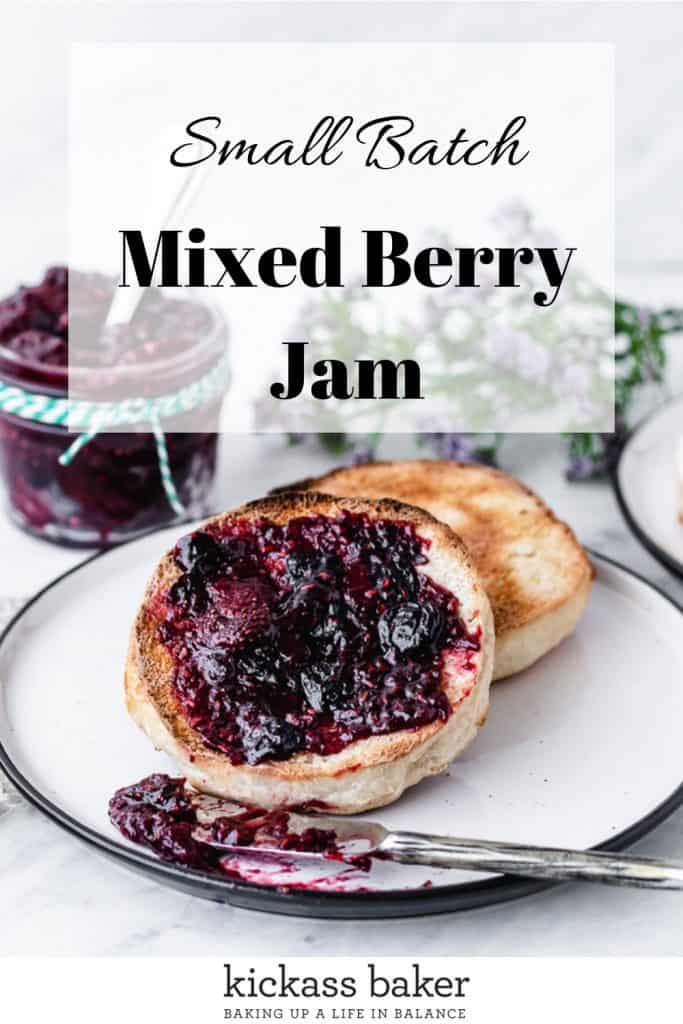 Small Batch Mixed Berry Jam on toasted English Muffins with purple flowers in background | kickassbaker.com