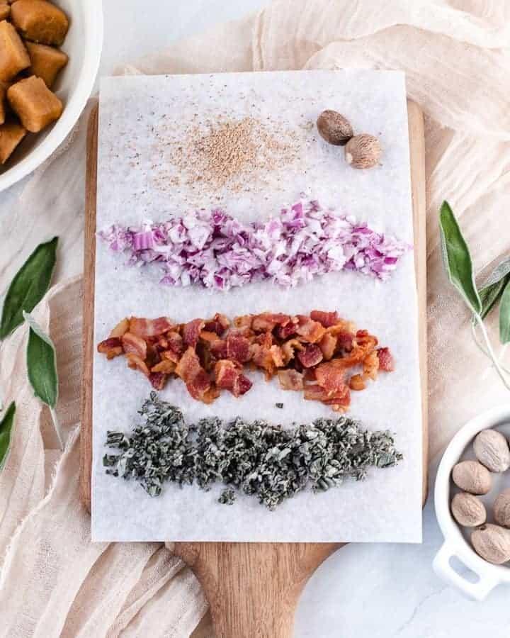 Sweet Potato Gnocchi in Bacon Sage Sauce   kickassbaker.com #dinner #sweetpotato #gnocchi #paleo #paleorecipe #glutenfree #dairyfree #nutfree #bacon #sage #ghee