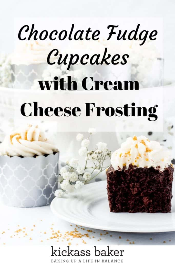 Chocolate Fudge Cupcakes | kickassbaker.com pin for Pinterest