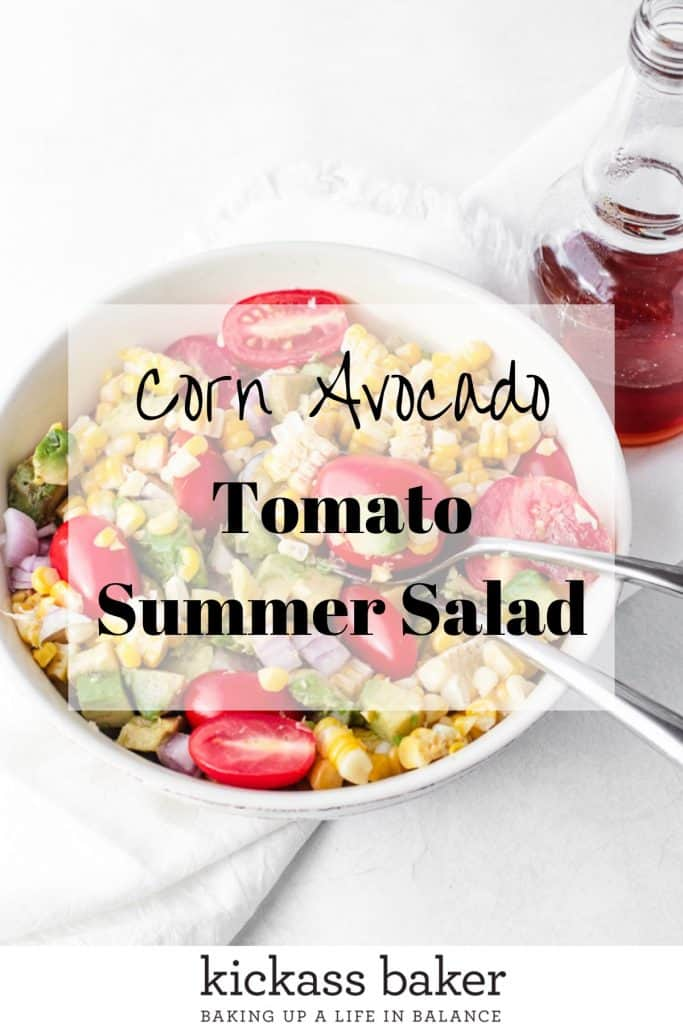 Avocado Corn Tomato Salad pin for Pinterest with text overlay