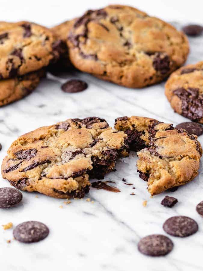 Amazing, large chocolate chip cookie recipe by Jacques Torres, nut free recipe