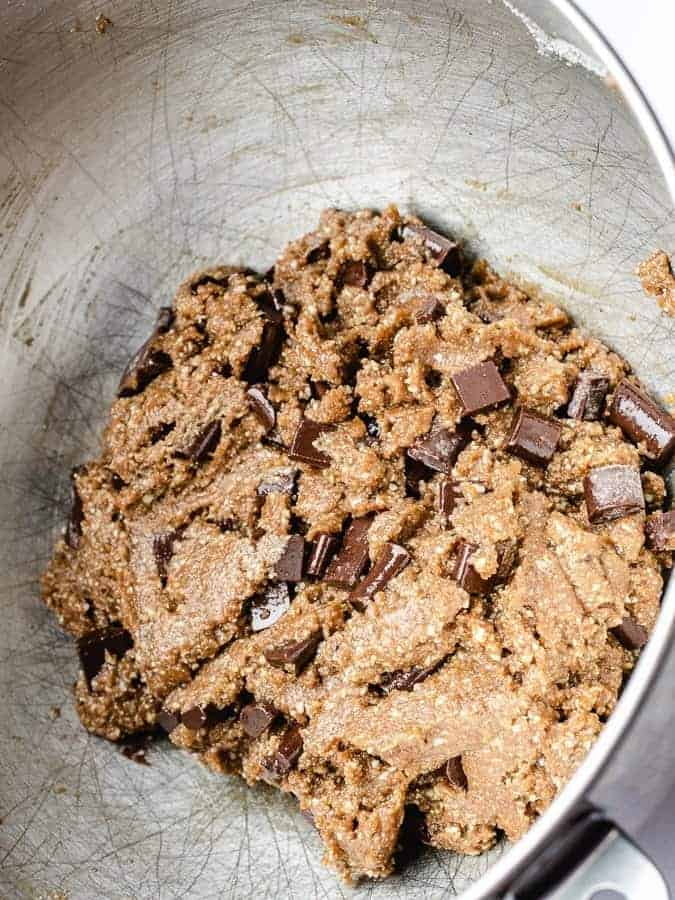 Paleo chocolate chip cookie dough in mixing bowl