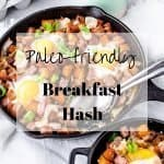 Paleo Breakfast Hash with Eggs, Caramelized Onions, Chicken Apple Sausage and Sweet Potatoes | kickassbaker.com
