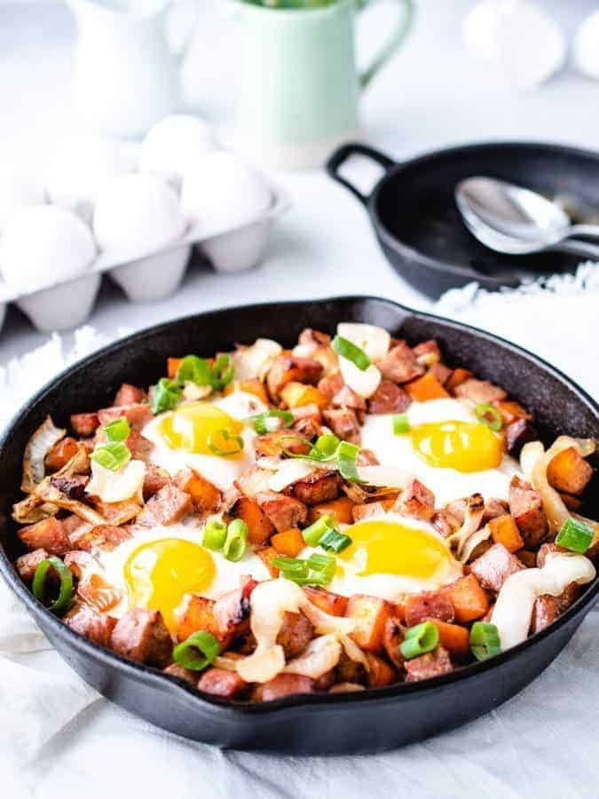 Paleo breakfast hash with caramelized onion and chicken apple sausage