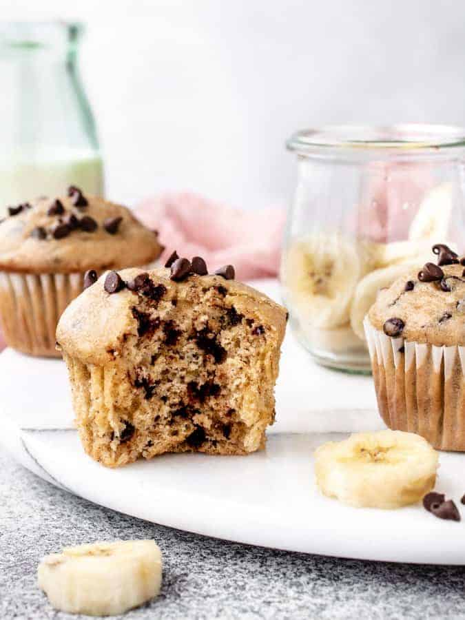 Banana Chocolate Chip Muffin with bite taken out