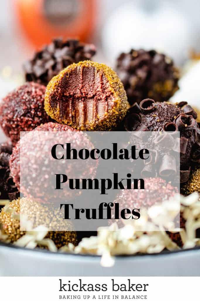 Chocolate Pumpkin Truffles   kickassbaker.com pin for Pinterest w text overlay