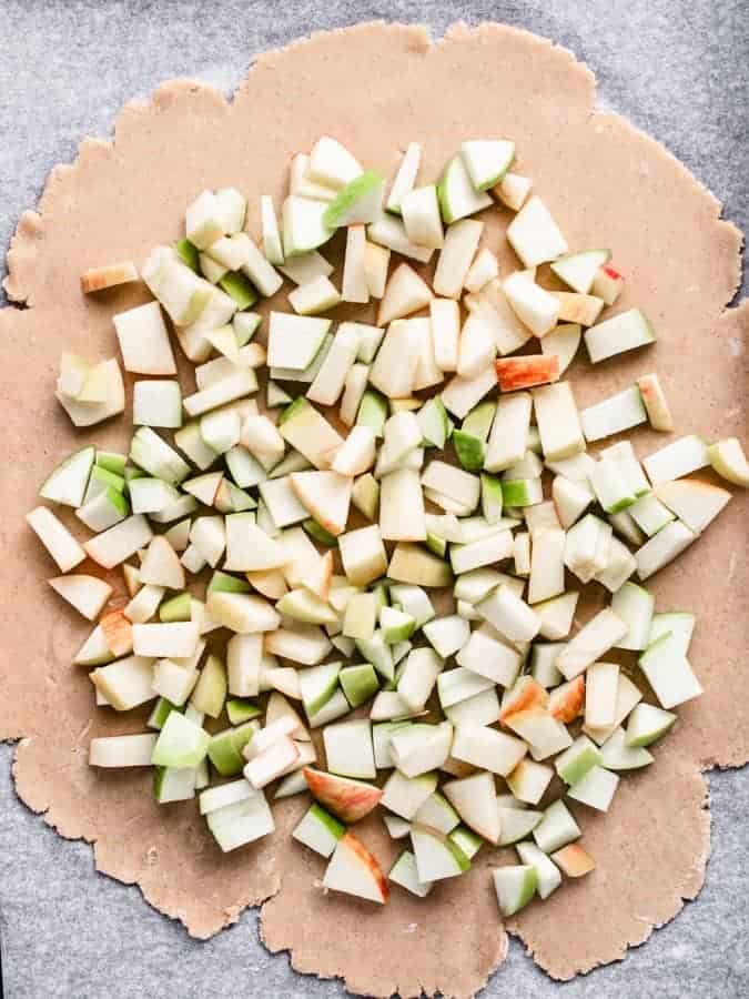 chopped apples spread out on rolled out pie dough