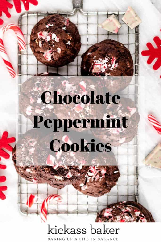 Chocolate Peppermint Cookies | kickassbaker.com pin for Pinterest w text overlay