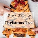Puff Pastry Christmas Tree   kickassbaker.com pin for pinterest with text overlay