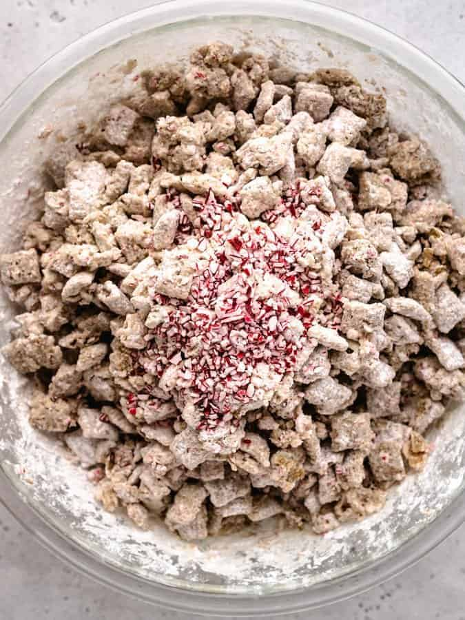 Overhead of peppermint puppy chow being made