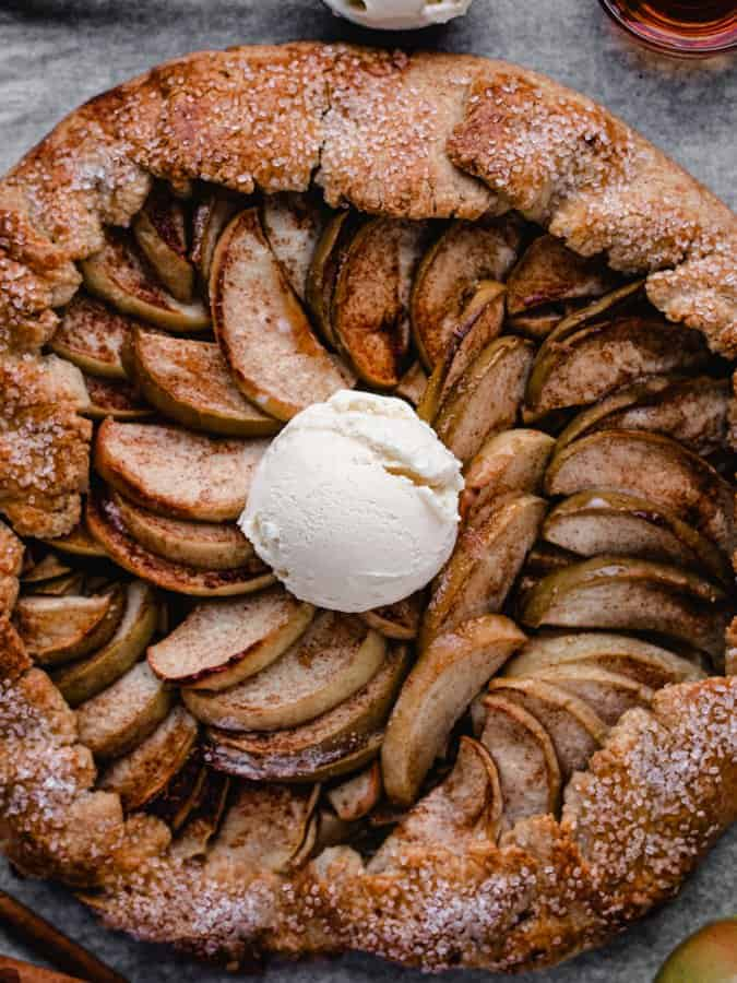 Maple Apple Galette with a scoop of vanilla ice cream in the middle