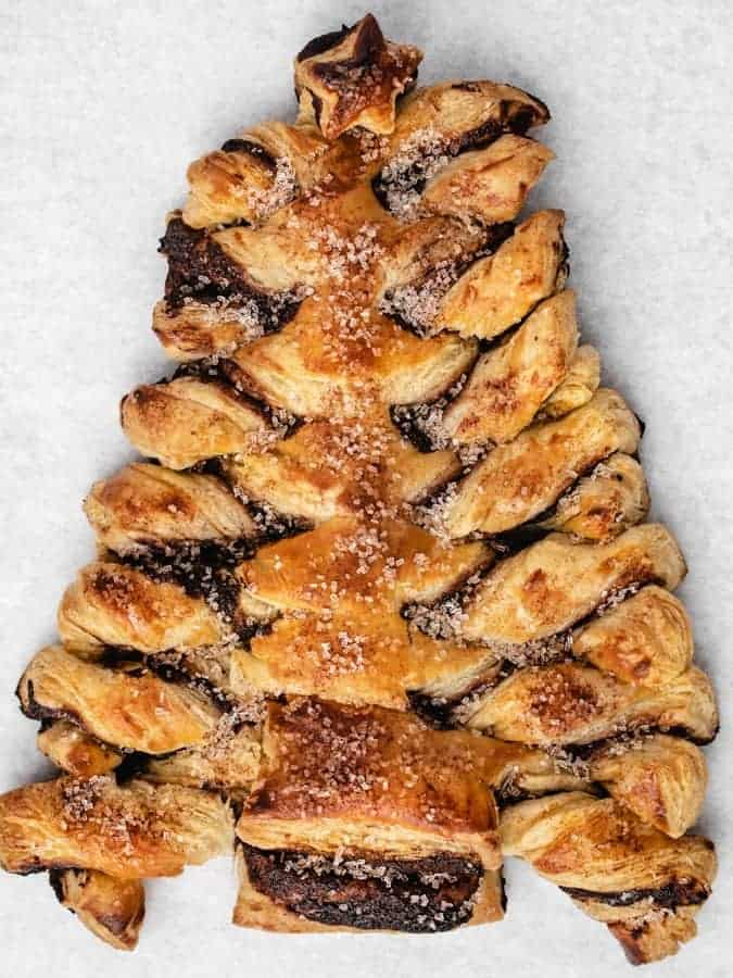 Overhead of baked puff pastry Christmas tree
