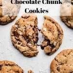 Salted Brown Butter Chocolate Chunk Cookies | kickassbaker.com pin for pinterest w text overlay