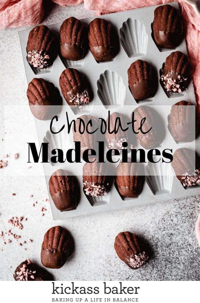 Chocolate Madeleines | kickassbaker.com pin for pinterest with text
