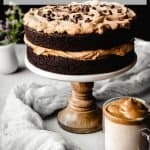 Dalgona Coffee Chocolate Cake | kickassbaker.com pin for pinterest with text 2