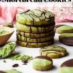 Matcha Green Tea Shortbread Cookies | kickassbaker.com pin for pinterest with text 2