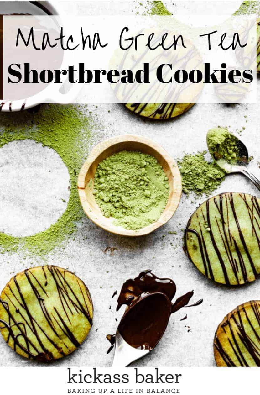 Matcha Green Tea Shortbread Cookies | kickassbaker.com pin for pinterest with text