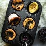 Paleo Lemon Muffins Swirled with Blueberry Jam | kickassbaker.com pin for pinterest 2