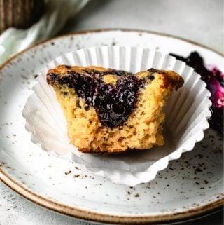 Paleo Lemon Muffins Swirled with Blueberry Jam | kickassbaker.com pin for pinterest