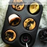 Paleo Lemon Muffins Swirled with Blueberry Jam | kickassbaker.com pin for pinterest with text 2 new