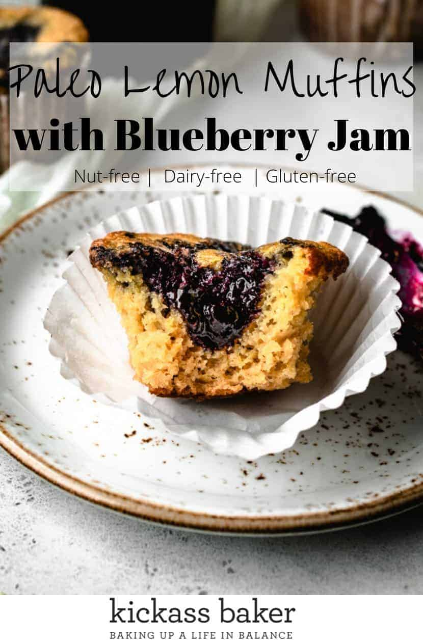Paleo Lemon Muffins Swirled with Blueberry Jam | kickassbaker.com pin for pinterest with text