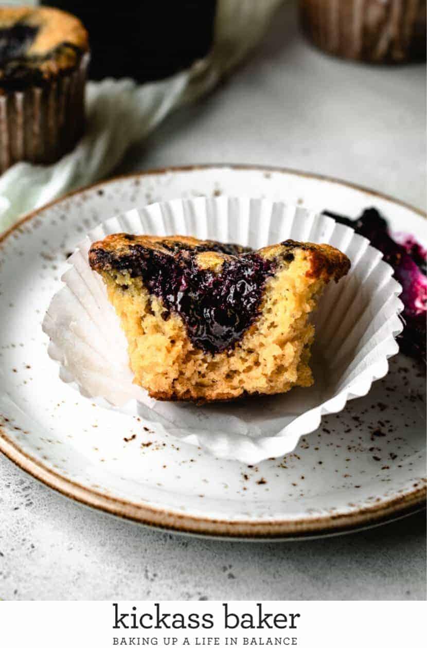 Paleo Lemon Muffins Swirled with Blueberry Jam