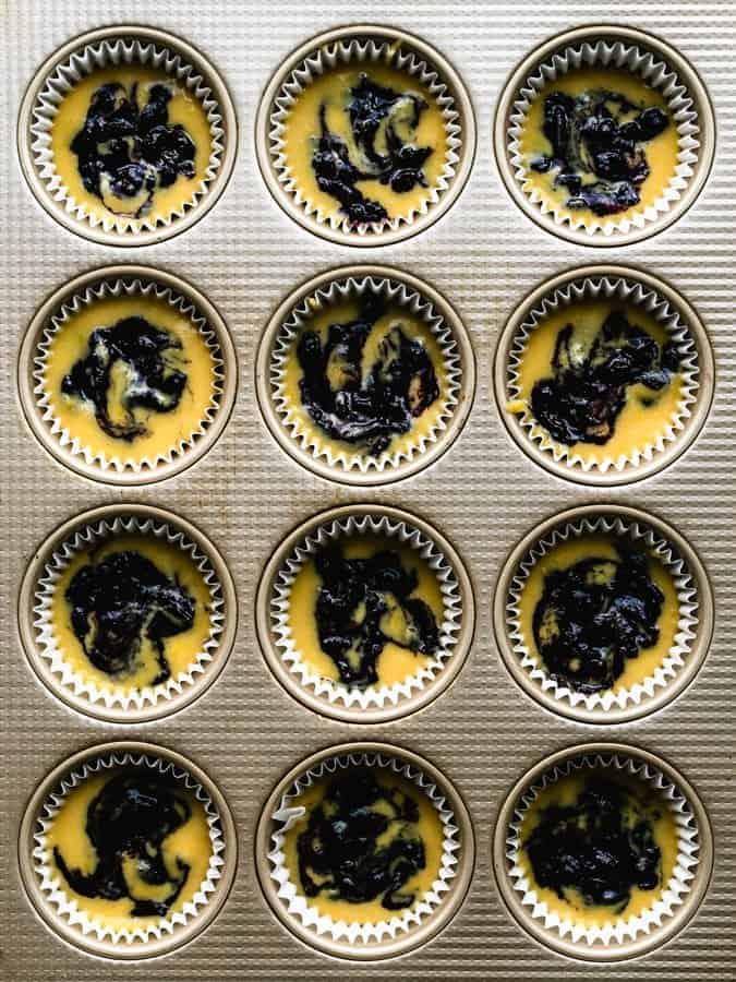paleo lemon muffins with blueberry jam swirls