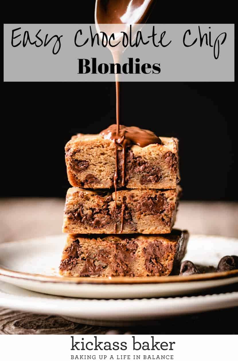 Easy Chocolate Chip Blondies recipe | kickassbaker.com pin for pinterest with text 2