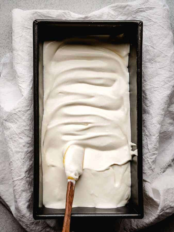 ice cream in a loaf pan ready for the freezer