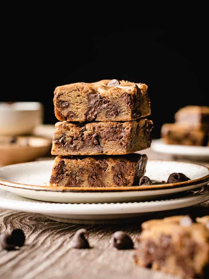 stack of three blondies on a plate