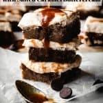 Brown Butter Blondies with Salted Caramel Buttercream | kickassbaker.com pin for pinterest with text