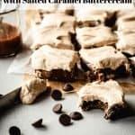 Brown Butter Blondies with Salted Caramel Buttercream | kickassbaker.com pin for pinterest with text 2