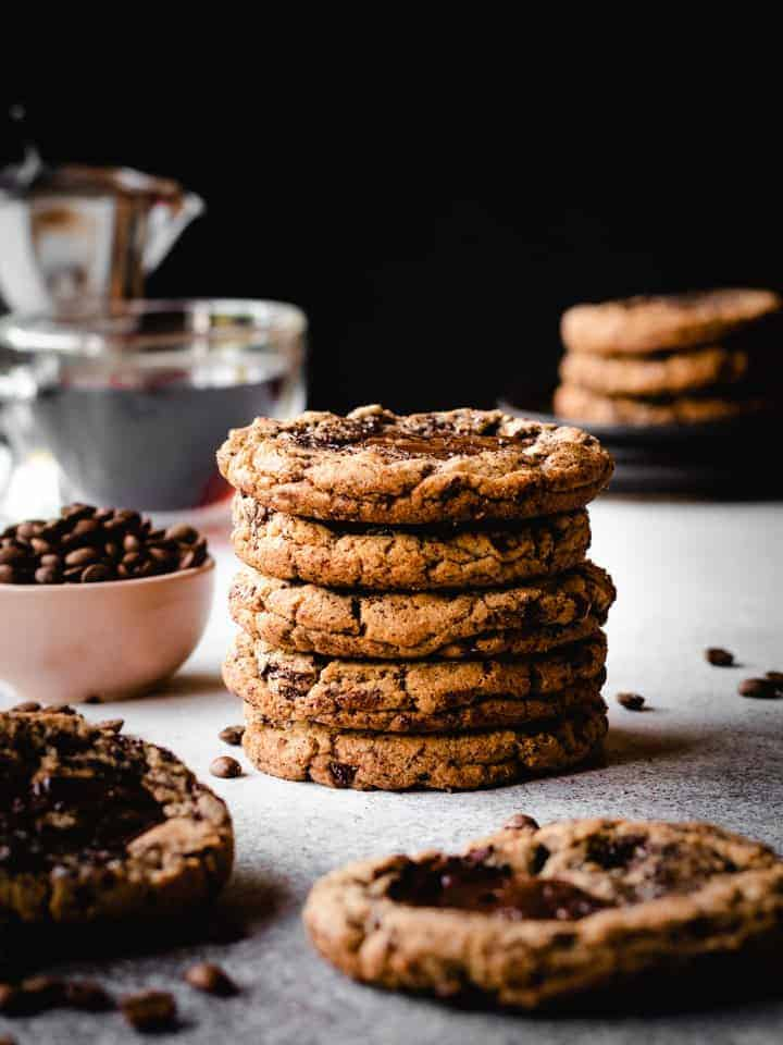 stack of espresso chocolate cookies