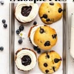 Blueberry Whoopie Pies | kickassbaker.com pin for pinterest with text 2