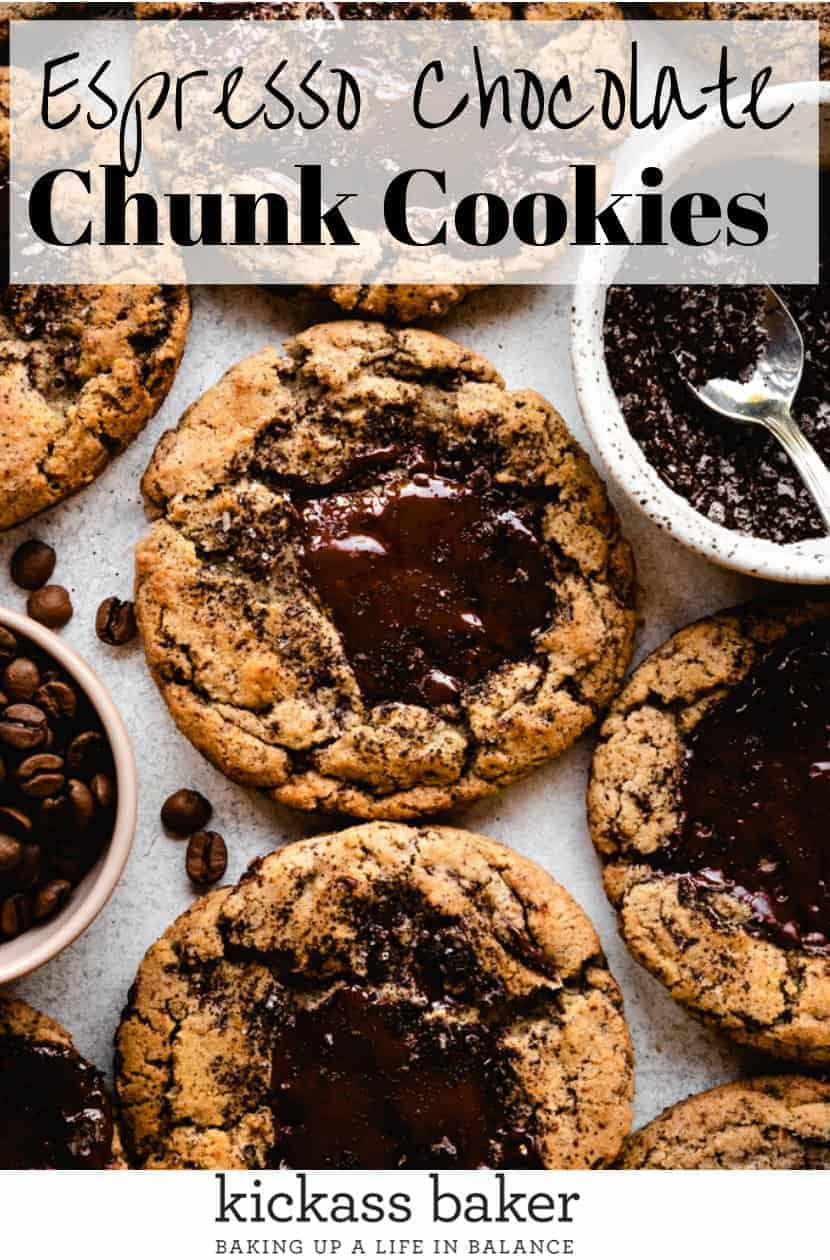 Espresso Chocolate Chunk Cookies | kickassbaker.com pin for pinterest with text 1