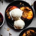 Grilled Peaches with Honey and Ice Cream | kickassbaker.com pin for pinterest 2
