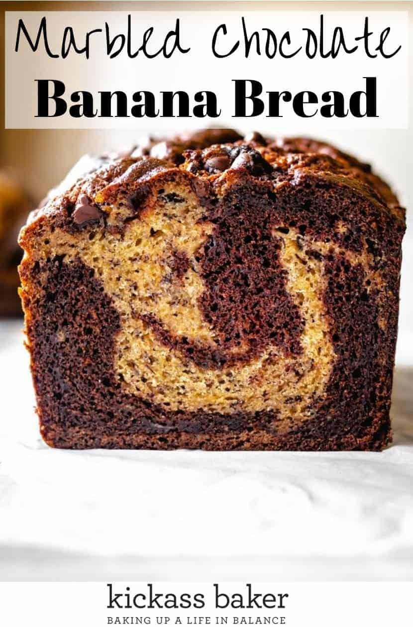 Marbled Chocolate Banana Bread | kickassbaker.com pin for pinterest 2