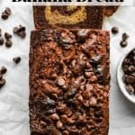 Marbled Chocolate Banana Bread | kickassbaker.com pin for pinterest with text 2