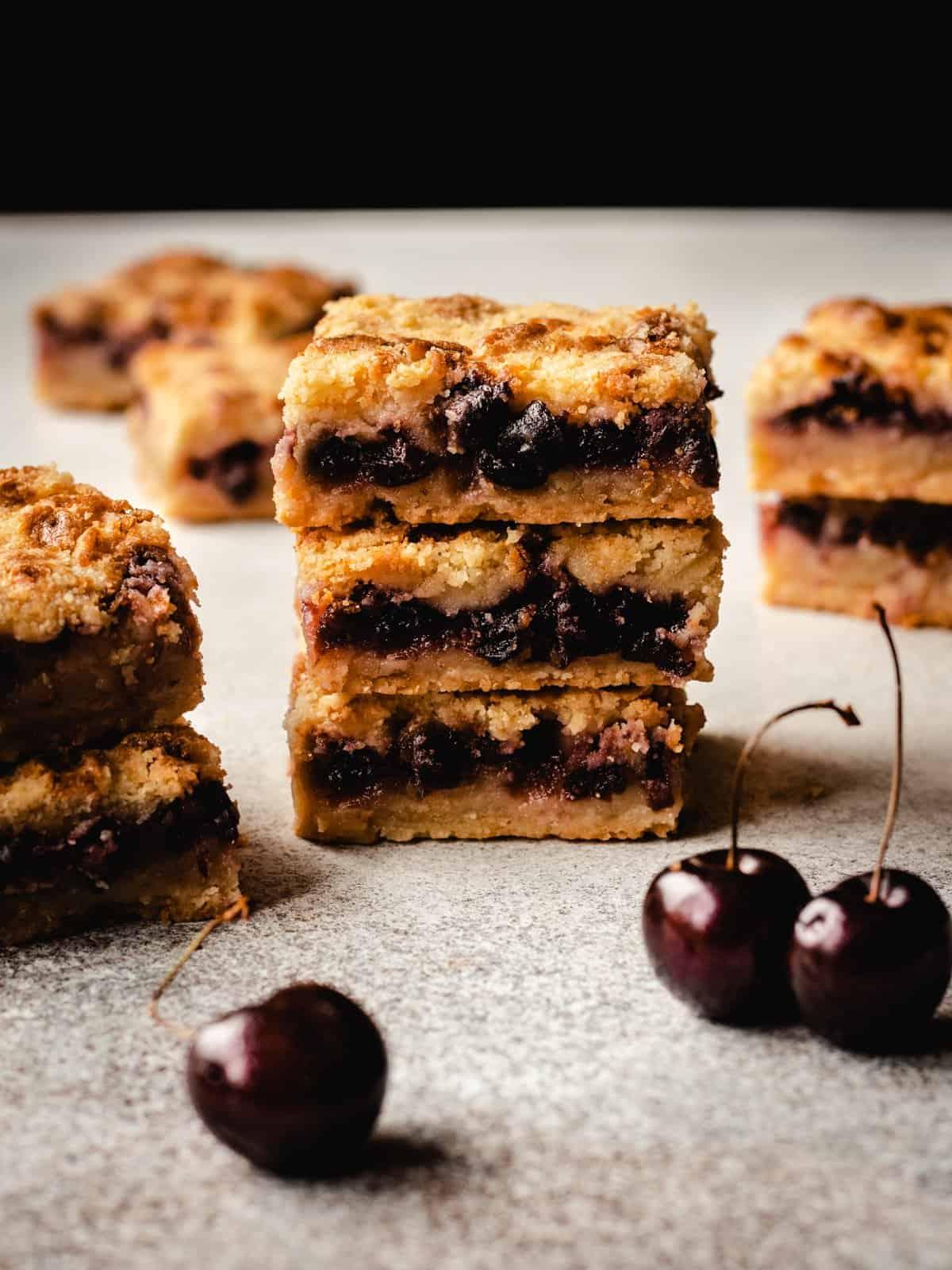 stack of 3 cherry pie bars