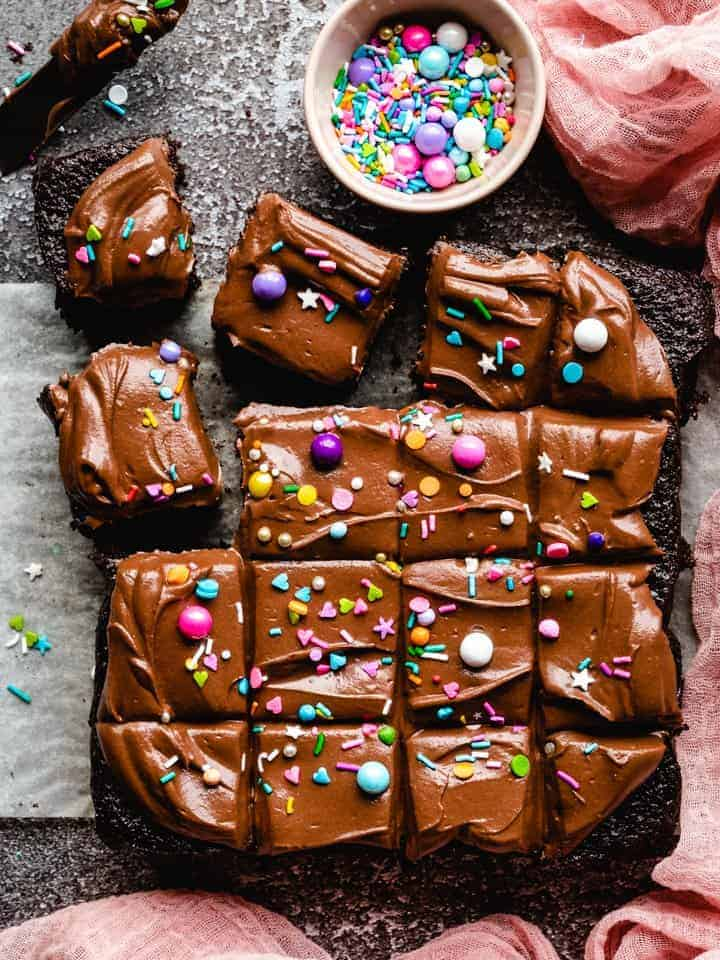 chocolate cake with chocolate frosting and sprinkles