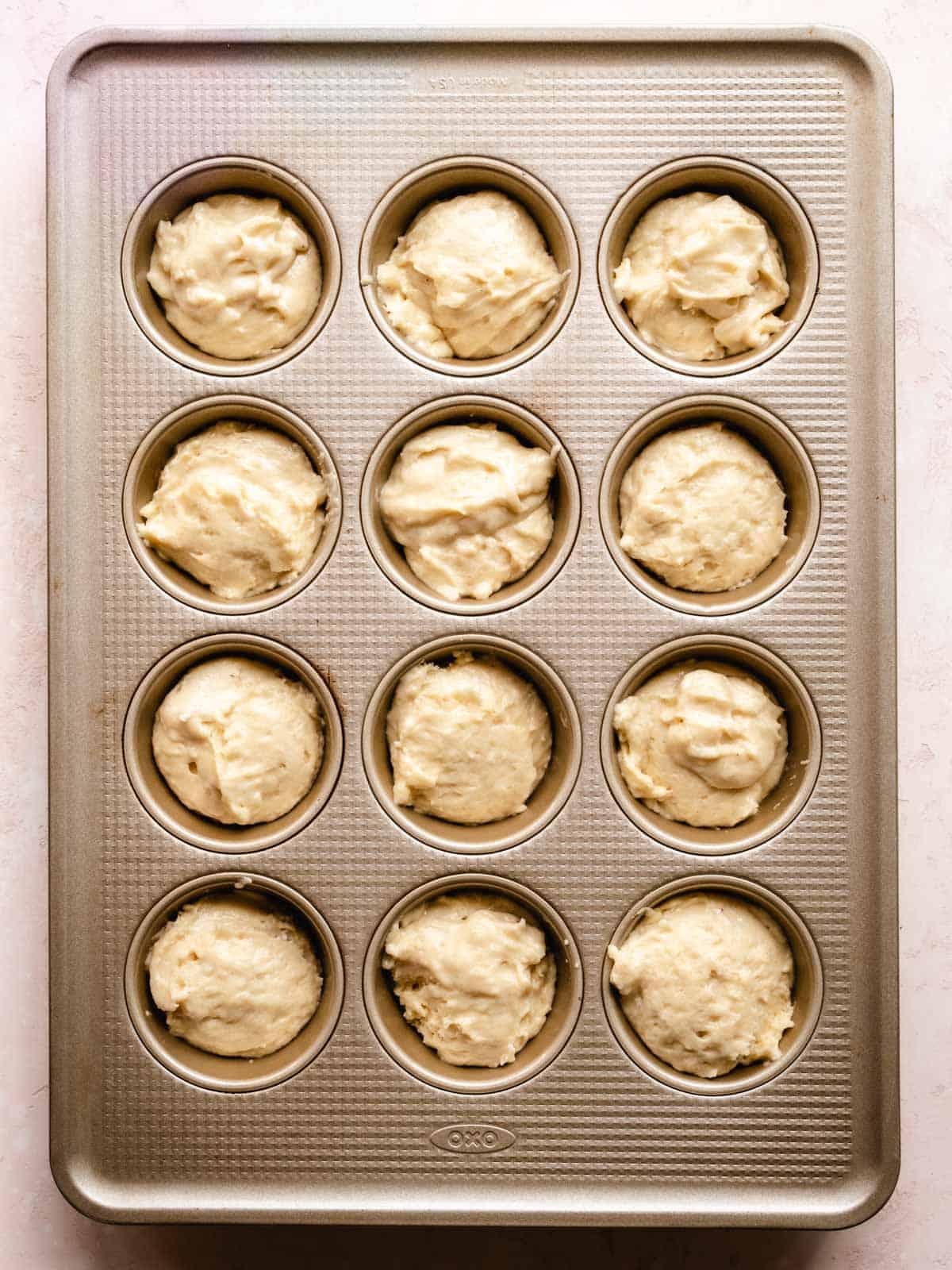 muffin batter in cupcake tin