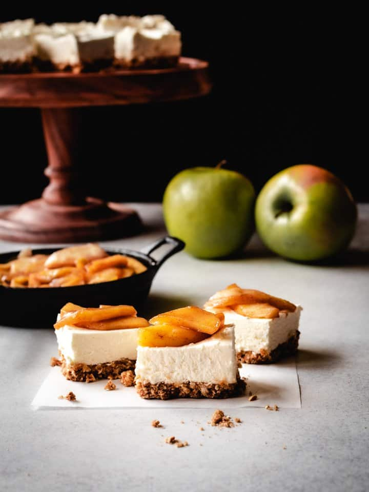 cheesecake squares with caramel apples on top