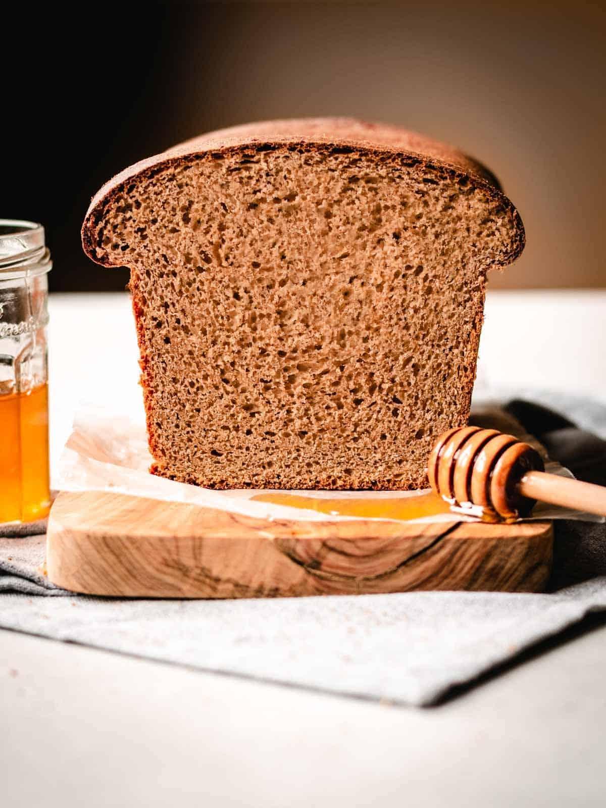 crumb shot of honey whole wheat sandwich bread