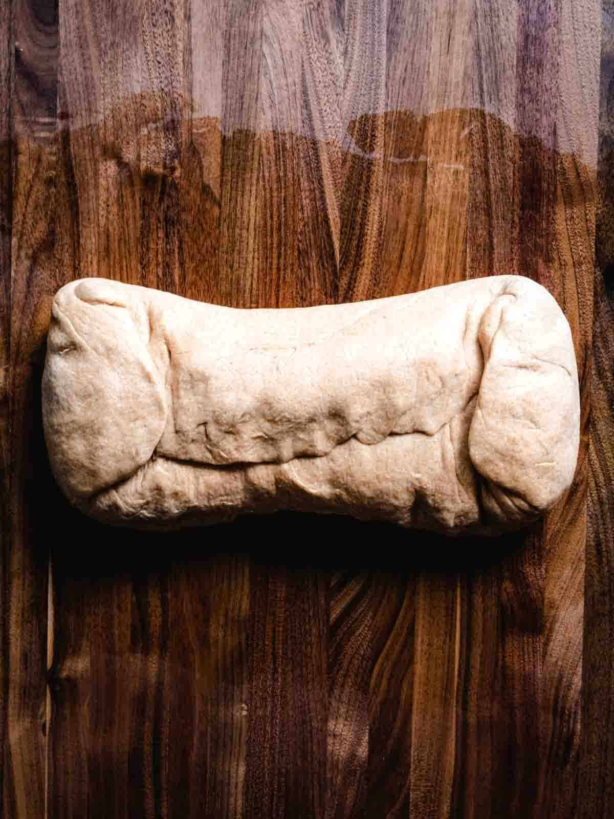 bread dough formed into a loaf